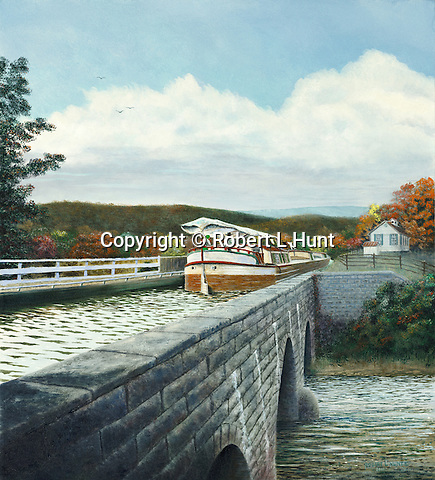 """Keelboat crossing the aqueduct at Alexandria, PA, on the old Pennsylvania Canal in the 1830's. Oil on canvas, 20"""" x 22""""."""