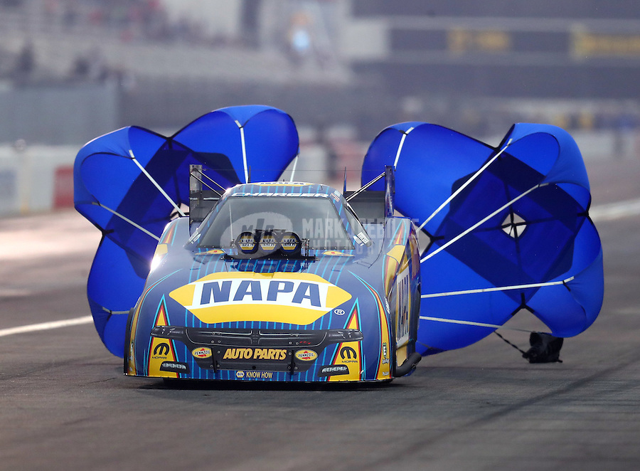 Feb 10, 2017; Pomona, CA, USA; NHRA funny car driver Ron Capps during qualifying for the Winternationals at Auto Club Raceway at Pomona. Mandatory Credit: Mark J. Rebilas-USA TODAY Sports