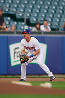 Buffalo Bisons third baseman Nash Knight (8) during an International League game against the Rochester Red Wings on August 26, 2019 at Sahlen Field in Buffalo, New York.  Buffalo defeated Rochester 5-4.  (Mike Janes/Four Seam Images)