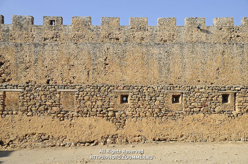 Fagment of the Frangokastello fort wall near Chora Sfakion, Crete