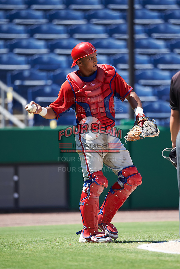 Philadelphia Phillies catcher Rodolfo Duran (10) during an Instructional League game against the New York Yankees on September 27, 2016 at Bright House Field in Clearwater, Florida.  (Mike Janes/Four Seam Images)