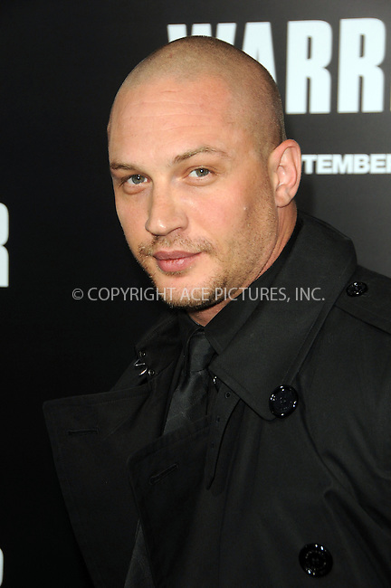 WWW.ACEPIXS.COM . . . . .  ....September 6 2011, LA....Actor Tom Hardy arriving at the premiere of 'Warrior' at the Arclight Hollywood on September 6, 2011 in Hollywood, California.....Please byline: PETER WEST - ACE PICTURES.... *** ***..Ace Pictures, Inc:  ..Philip Vaughan (212) 243-8787 or (646) 679 0430..e-mail: info@acepixs.com..web: http://www.acepixs.com
