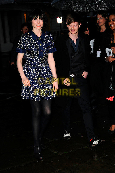 "SOPHIE ELLIS BEXTOR & RICHARD JONES.""Scarlet"" - TV series launch, No. 1 Marylebone, Marylebone Road, London, England..April 30th, 2008.full length black blue white polka dot dress tights t-bat shoes married husband wife jeans denim spats .CAP/CAN.©Can Nguyen/Capital Pictures."