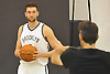 Brooklyn Nets No. 9 Andrea Bargnani listens to a photographer during a portrait session on Media Day held at the team's practice center in East Rutherford, New Jersey on Monday, September 28, 2015.<br /> <br /> James Escher