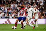 Daniel Carvajal of Real Madrid (R) fights for the ball with Jorge Koke of Atletico de Madrid (L) during their La Liga  2018-19 match between Real Madrid CF and Atletico de Madrid at Santiago Bernabeu on September 29 2018 in Madrid, Spain. Photo by Diego Souto / Power Sport Images