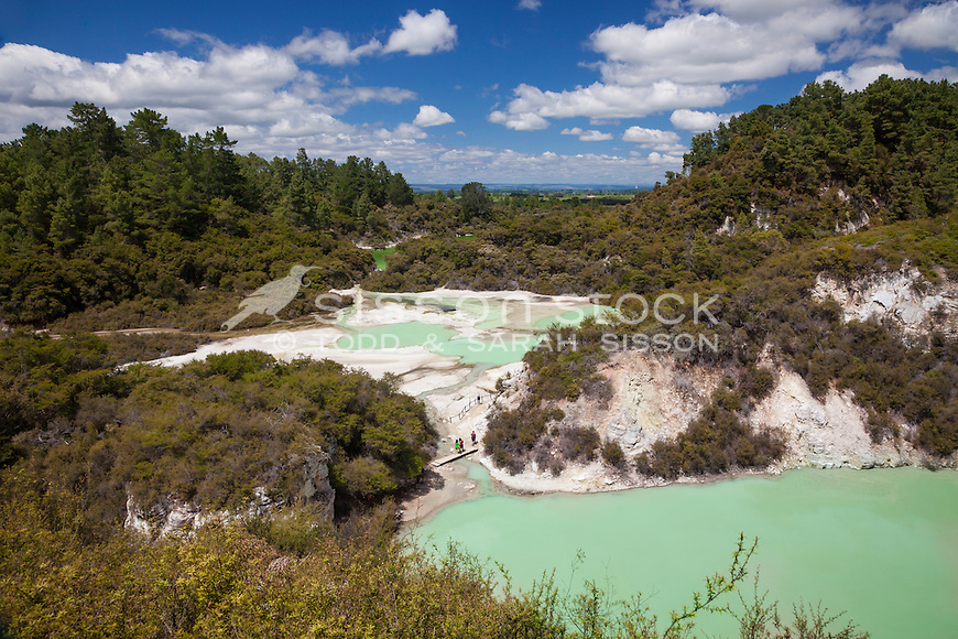 View over Waiotapu Thermal Reserve with Lake Ngakoro in the distance, Rotorua, Bay of Plenty, New Zealand - stock photo, canvas, fine art print