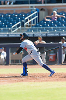 Glendale Desert Dogs first baseman Jared Walker (66), of the Los Angeles Dodgers organization, follows through on his swing during an Arizona Fall League game against the Peoria Javelinas at Peoria Sports Complex on October 22, 2018 in Peoria, Arizona. Glendale defeated Peoria 6-2. (Zachary Lucy/Four Seam Images)