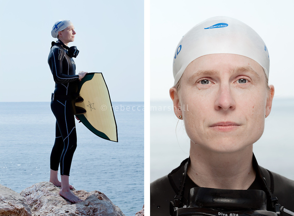 """Saana Partinen, freediver, poses for the photographer at the A.I.D.A. Freediving World Championships, Villefranche-sur-Mer, France, 11 September 2012. Saana, 38 years of age, is Finland's national female champion for pool-based distance freediving, having swum a record distance of 182 metres in dynamic apnea. <br /> <br /> Saana has been partially deaf since birth and, due to problems with her ears, she can't dive to any depth. <br /> <br /> """"In life there is so much noise; people talking, music everywhere, all the time. The silence underwater is a relief. Underwater I am equal to others""""<br /> <br /> """"When I'm freediving, I put my life in the hands of others [safety divers; coach]. Freediving has helped me to trust other people"""""""