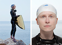 Saana Partinen, freediver, poses for the photographer at the A.I.D.A. Freediving World Championships, Villefranche-sur-Mer, France, 11 September 2012. Saana, 38 years of age, is Finland's national female champion for pool-based distance freediving, having swum a record distance of 182 metres in dynamic apnea. <br />
