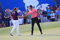 Julian Suri (USA) on the 18th green during Round 4 of the DP World Tour Championship 2017, at Jumeirah Golf Estates, Dubai, United Arab Emirates. 19/11/2017<br /> Picture: Golffile | Thos Caffrey<br /> <br /> <br /> All photo usage must carry mandatory copyright credit     (© Golffile | Thos Caffrey)
