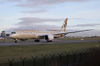 An Etihad Airways Boeing 787-9 Dreamliner Registration A6-BLQ at Manchester Airport on 11.2.19 going to Abu Dhabi International Airport, United Arab Emirates.
