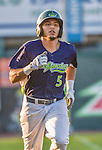 1 September 2014: Vermont Lake Monsters infielder Jose Brizuela comes home to score after hitting a solo home run in the 7th inning against the Tri-City ValleyCats at Centennial Field in Burlington, Vermont. The ValleyCats defeated the Lake Monsters 3-2 in NY Penn League play. Mandatory Credit: Ed Wolfstein Photo *** RAW Image File Available ****