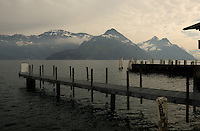 Jetties on the lake. Stätter See. Beckenried. Luzern area, Switzerland.