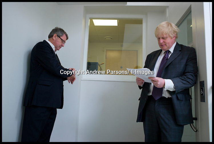 Boris Johnson, the Mayor of London prepares his speech in the green room with his wife Marina and campaign manager Lynton Crosby as he launches his bid to be re-elected as The London Mayor. Tuesday April 10, 2012 Photo By Andrew Parsons/i-Images