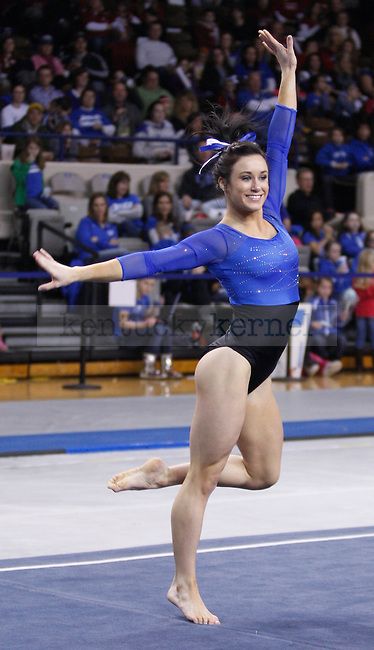 Freshman Shelby Hilton performs her floor routine during the University of Kentucky gymnastics meet against the University of Alabama, in Memorial Coliseum, on Friday, Feb. 10, 2012. Photo by Latara Appleby | Staff ..