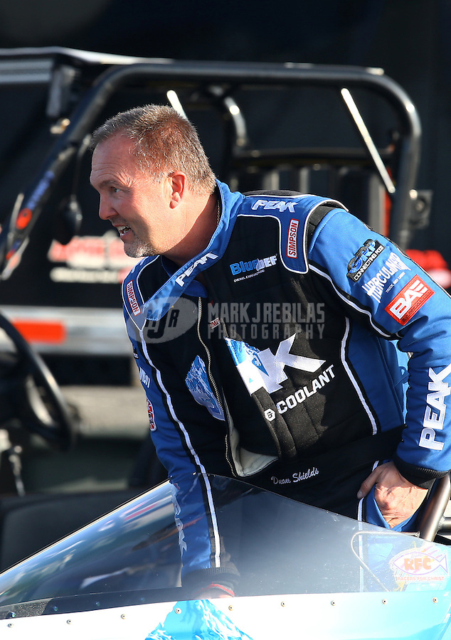 Feb 13, 2016; Pomona, CA, USA; NHRA top alcohol dragster driver Duane Shields during qualifying for the Winternationals at Auto Club Raceway at Pomona. Mandatory Credit: Mark J. Rebilas-USA TODAY Sports
