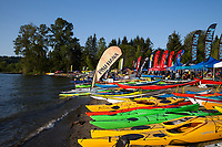 Colorful Kayaks, Northwest Paddling Festival, Lake Sammamish State Park, Issaquah, Washington State, WA, America, USA.
