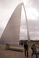 People Strolling at the Saint Louis Gateway Riverside Park, Jefferson National Expansion Memorial.
