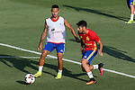 Spanish Thiago Alcantara and Marco Asensio during the first training of the concentration of Spanish football team at Ciudad del Futbol de Las Rozas before the qualifying for the Russia world cup in 2017 August 29, 2016. (ALTERPHOTOS/Rodrigo Jimenez)
