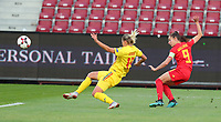 20191008 CLUJ NAPOCA: Belgium's Tessa Wullaert (9) is pictured kicking the ball attempting to score and Romania's Brigita Goder (15) is trying to stop it at the match between Belgium Women's National Team and Romania Women's National Team as part of EURO 2021 Qualifiers on 8th of October 2019 at CFR Stadium, Cluj Napoca, Romania. PHOTO SPORTPIX | SEVIL OKTEM