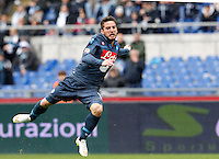 Calcio, Serie A: Lazio vs Napoli. Roma, stadio Olimpico, 18 gennaio 2015.<br /> Napoli's Dries Mertens jumps during the Italian Serie A football match between Lazio and Napoli at Rome's Olympic stadium, 18 January 2015.<br /> UPDATE IMAGES PRESS/Riccardo De Luca