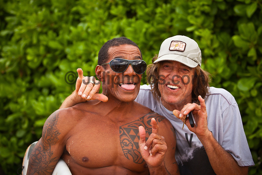 North Shore/Oahu/Hawaii (Monday, December 12, 2011)Buttons Kaluhiokalani (HAW) and Rory Russell (HAW). – Herbie Fletcher's Wave Warriors assembled at Off The Wall this afternoon to do a 2011 photo shoot. The shot was replicating a photo take in the 80's. Today's shoot included surfer such as Kelly Slater (USA), Rob Machado (USA), Nathan Fletcher (USA),  Christian Fletcher (USA), Julian Wilson (AUS) and John John Flores (HAW) among a host of others.. Photo: joliphotos.com