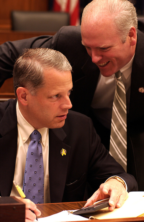 Steve Israel, R-NY, and Joseph Crowley,R-NY, talk before the start of the hearing to satrt on the monetary policy report full committee hearing on the Federal Reserve's monetary policy report..