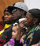 View of the audience attending a Community Policing Forum, sponsored by the Kingston Branch of ENJAN and the Ministers Alliance of Ulster Co., held at New Progressive Baptist Church, on Hone Street in Kingston, NY, on Tuesday, December 13, 2016. Photo by Jim Peppler; Copyright Jim Peppler 2016.