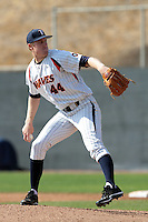 Scott Frazier (44) of the Pepperdine Waves pitches against the Oklahoma Sooners at Eddy D. Field Stadium on February 18, 2012 in Malibu,California. Pepperdine defeated Oklahoma 10-0.(Larry Goren/Four Seam Images)
