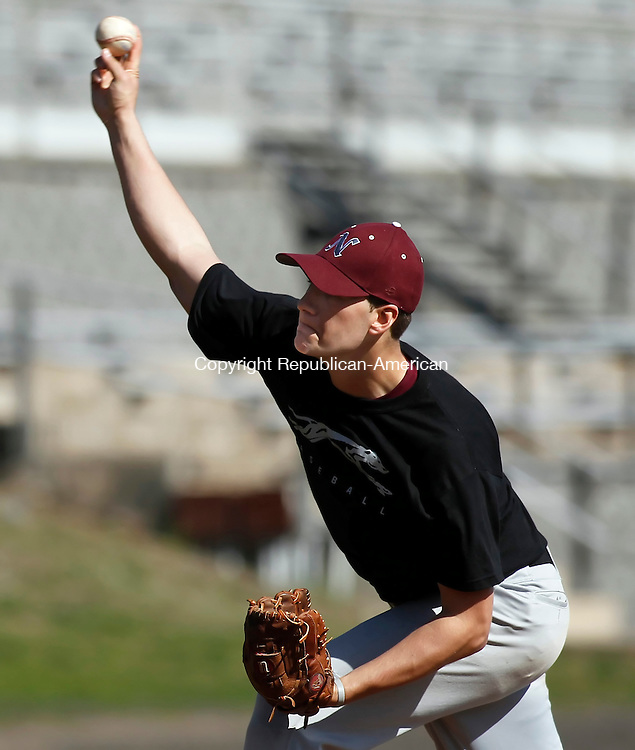 Naugatuck, CT-02, April 2010-040210CM01  Naugatuck High School pitcher,  Matt Zahornasky delivers a pitcher during their scrimmage against Branford High School Friday afternoon in Naugatuck.  --Christopher Massa Republican-American