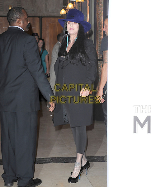 "Cher (Cherilyn Sarkisian).""The Book of Mormon"" Hollywood Opening night Held At The Pantages theatre, Hollywood, California, USA..September 12th, 2012.full length black hat leggings top lace trousers blue purple .CAP/DVS.©DVS/Capital Pictures."