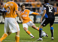 28 March 2009: Brad Davis of Dynamo kicks the ball during the game against the Earthquakes at Buck Shaw Stadium in Santa Clara, California.  San Jose Earthquakes defeated Houston Dynamo, 3-2.