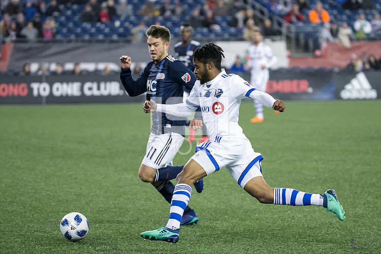 Foxborough, Massachusetts - April 6, 2018:  The New England Revolution (blue) beat Montreal Impact (white) 4-0 in a Major League Soccer (MLS) match at Gillette Stadium.