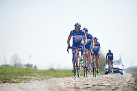 James Vanlandschoot (BEL/Wanty-Groupe Gobert) &amp; teammates over the rough cobbles of the Orchies sector<br /> <br /> 2015 Paris-Roubaix recon