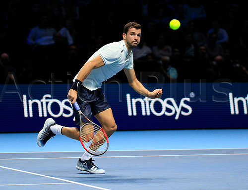 18th November 2017, O2 Arena, London, England; Nitto ATP Tennis Finals; Grigor Dimitrov (BUL) chases a point in his mach with Jack Sock (USA)