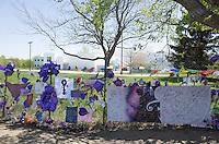 View of Prince's memorial fence surrounding Paisley Park Studios. Chanhassen Minnesota MN USA