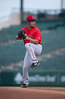 AZL Angels relief pitcher Kiber Arvelaez (31) delivers a pitch during the completion of a suspended Arizona League game against the AZL Diamondbacks at Tempe Diablo Stadium on July 16, 2018 in Tempe, Arizona. The game was a continuation of the July 11, 2018 contest that was suspended by rain in the middle of the eighth inning. The AZL Diamondbacks defeated the AZL Angels 12-8. (Zachary Lucy/Four Seam Images)