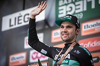 Maximilian Schachmann (DEU/Bora Hansgrohe) on podium after finishing 3th place.<br /> <br />  105TH Liège-Bastogne-Liège 2019 (1.UWT)<br /> 1 Day Race Liège-Liège  (256km)<br /> <br /> ©kramon