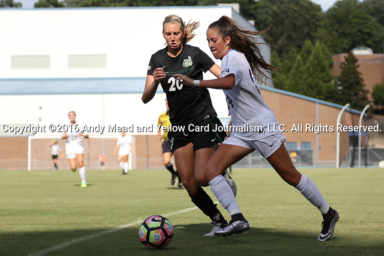 21 August 2016: North Carolina's Morgan Goff (14) and Charlotte's Abby Taylor (20). The University of North Carolina Tar Heels hosted the University of North Carolina Charlotte 49ers in a 2016 NCAA Division I Women's Soccer match. UNC won the game 3-0