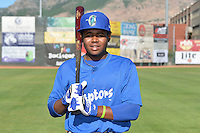 Cristian Gomez (11) of the Ogden Raptors poses for a photo during media day on June 14, 2014 at Lindquist Field in Ogden, Utah. (Stephen Smith/Four Seam Images)