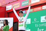 Tadej Pogacar (SLO) UAE Team Emirates retains the young riders White Jersey at the end of Stage 14 of La Vuelta 2019  running 188km from San Vicente de la Barquera to Oviedo, Spain. 7th September 2019.<br /> Picture: Luis Angel Gomez/Photogomezsport | Cyclefile<br /> <br /> All photos usage must carry mandatory copyright credit (© Cyclefile | Luis Angel Gomez/Photogomezsport)