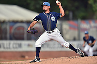 Asheville Tourists starting pitcher Helms Rodriguez (33) delivers a pitch during a game against the Rome Braves on June 11, 2015 in Asheville, North Carolina. The Tourists defeated the Braves 4-2. (Tony Farlow/Four Seam Images)