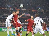 5th December 2017, Stadio Olimpic, Rome, Italy; UEFA Champions league football, AS Roma versus Qarabağ FK; The captain AS Roma Daniele De Rossi wins the header