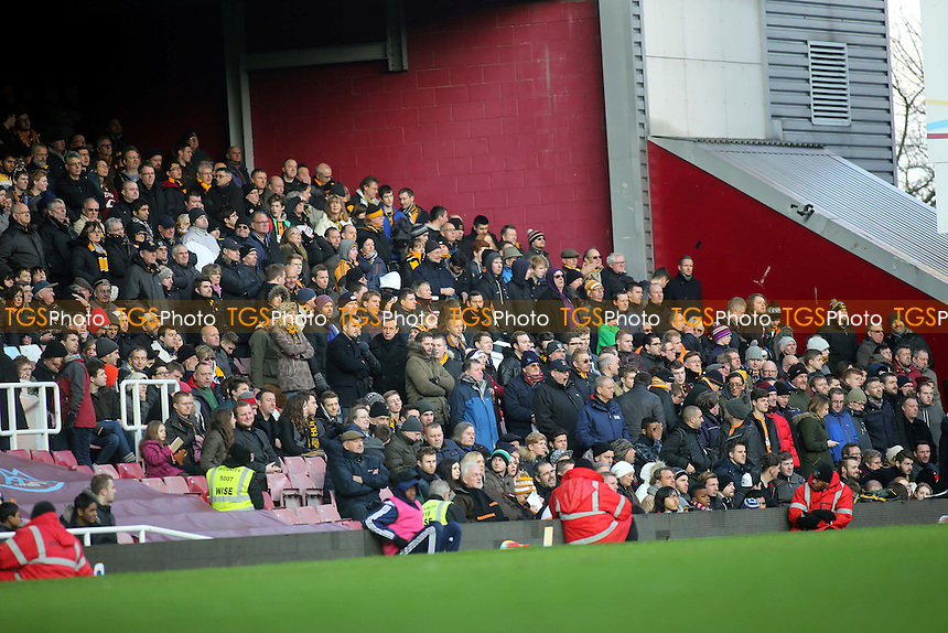 Hull fans look on quietly during the second half - West Ham United vs Hull City - Barclays Premier League Football at the Boleyn Ground, Upton Park, London - 18/01/15 - MANDATORY CREDIT: Paul Dennis/TGSPHOTO - Self billing applies where appropriate - contact@tgsphoto.co.uk - NO UNPAID USE