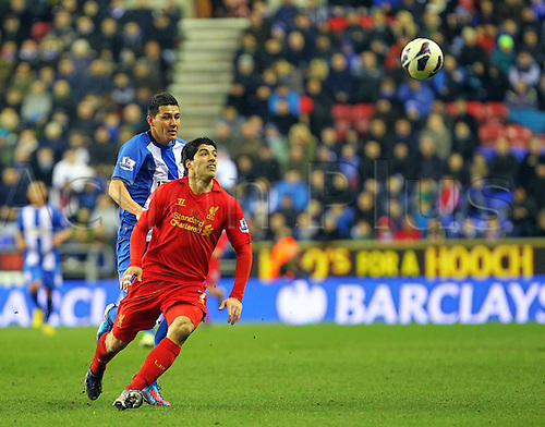 02.03.2013 Wigan, England. Luis Suárez of Liverpool in action during the Premier League game between Wigan Athletic and Liverpool at the DW Stadium.