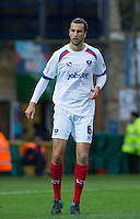 Christian Burgess of Portsmouth during the Sky Bet League 2 match between Wycombe Wanderers and Portsmouth at Adams Park, High Wycombe, England on 28 November 2015. Photo by Andy Rowland.