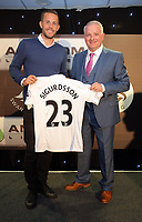 Pictured L-R: Gylfi Sigurdsson with his sponsor Wednesday 18 May 2017<br />Re: Swansea City FC, Player of the Year Awards at the Liberty Stadium, Wales, UK.