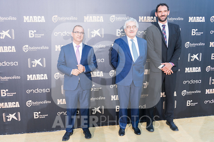 Newspaper Marca Director Juan Ignacio Gallardo (l), CEO of Endesa Jose Bogas and President of Spanish Federation of Basketball Jorge Garbajosa (r) attends photocall previous to the first edition of Spanish Basketball Awards. July 25, 2019. (ALTERPHOTOS/Francis Gonzalez)