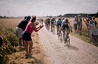 Chris Froome (GBR/SKY) on pav&eacute; sector #6<br /> <br /> Stage 9: Arras Citadelle &gt; Roubaix (154km)<br /> <br /> 105th Tour de France 2018<br /> &copy;kramon