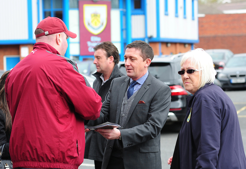 Former Burnley player David Eyres signs autographs outside the ground<br /> <br /> Photo by Chris Vaughan/CameraSport<br /> <br /> Football - The Football League Sky Bet Championship - Burnley v Middlesbrough - Saturday 12th April 2014 - Turf Moor - Burnley<br /> <br /> &copy; CameraSport - 43 Linden Ave. Countesthorpe. Leicester. England. LE8 5PG - Tel: +44 (0) 116 277 4147 - admin@camerasport.com - www.camerasport.com